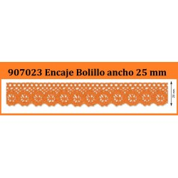 Puntilla de Bolillo de Algodon de Colores (25 mm)  Pieza 25 m