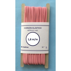 Cordón elástico redondo de 1,8 m/m color rosa